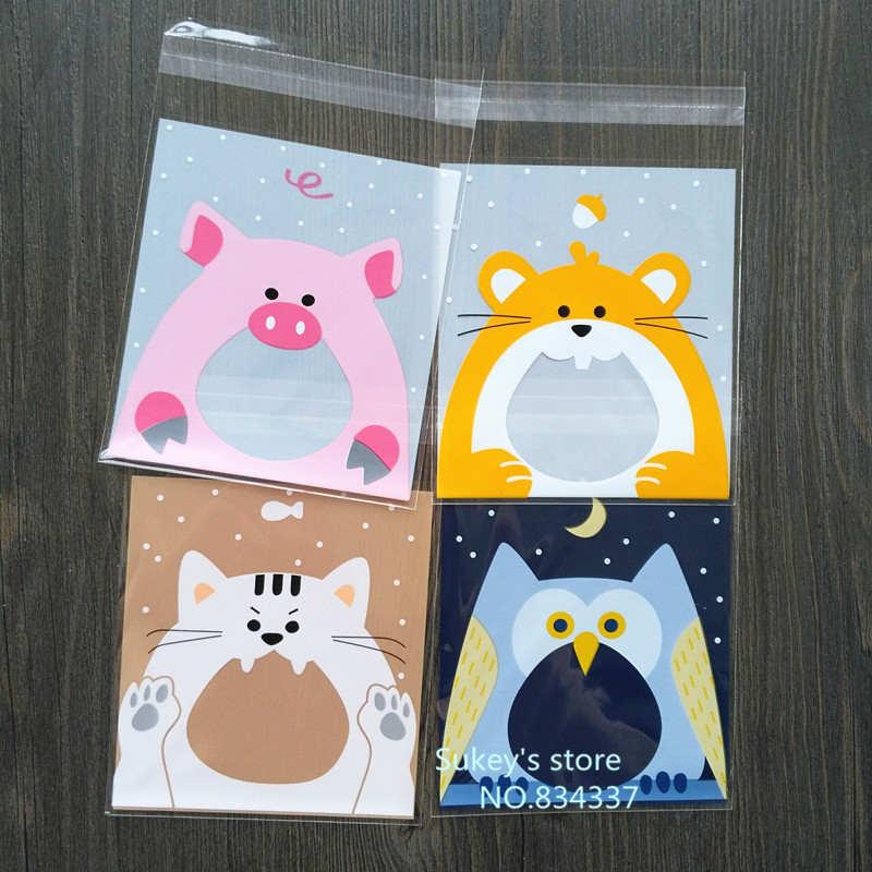 New product 100pcs/lot  4colors Cute little animal cookie plastic packaging bags 7x7 10x10cm self adhesive bags