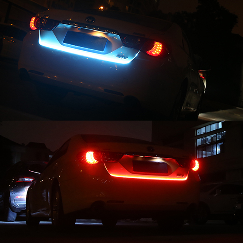 OKEEN 1set car styling red /blue LED trunk strip Dynamic Reverse flowing turn signal light Undercarriage Tailgate Light strip