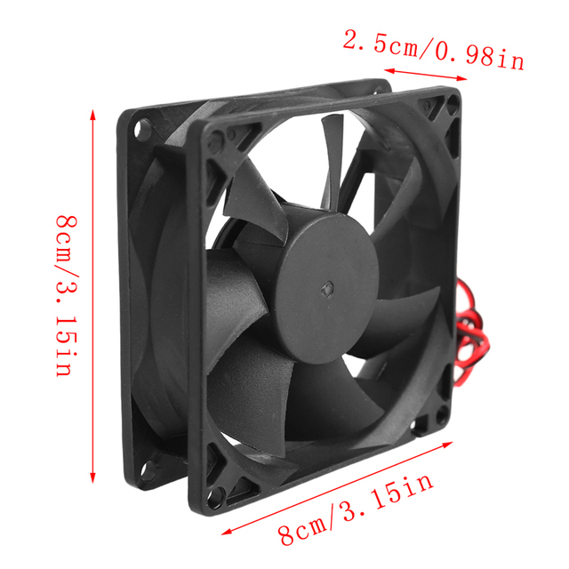 80 x 80 x 25mm 12V 2-pin Brushless Cooling fan for Computer 5