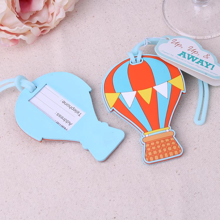 FREE SHIPPING(10pcs/Lot)+Summer Wedding Favors Up, Up & Away Hot Air Balloon Luggage Tag Wedding Baggage Tags Party Giveaway