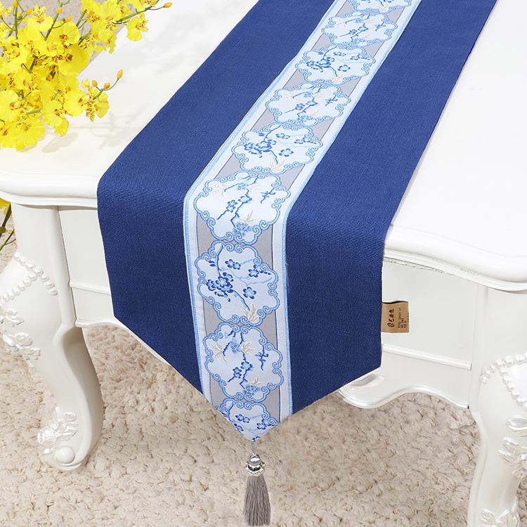 Rustic Embroidered Chinese Cotton Linen Table Runner Christmas Party Wedding Decoration Dining Mat Rectangle Cloth