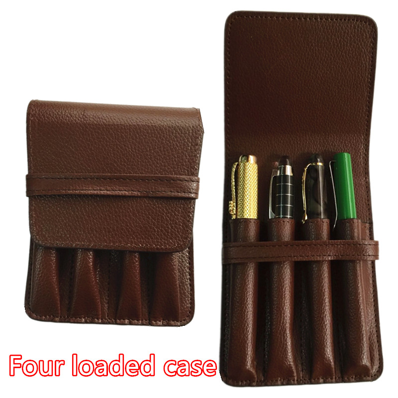 все цены на HIGH QUALITY brown PEN BAG LUXURY BROWN ROLLER AND metal FOUNTAIN PENS CASE HOLDER FOR 4 PEN pencil case онлайн