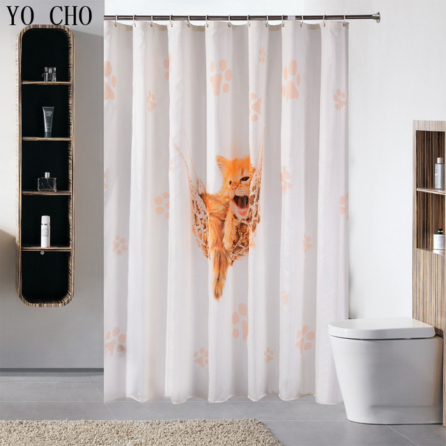 Fashion Funny Cat Patterns Thick Polyester Shower Curtain Bathroom  Waterproof Fabric Anime Bath Curtain With Hooks