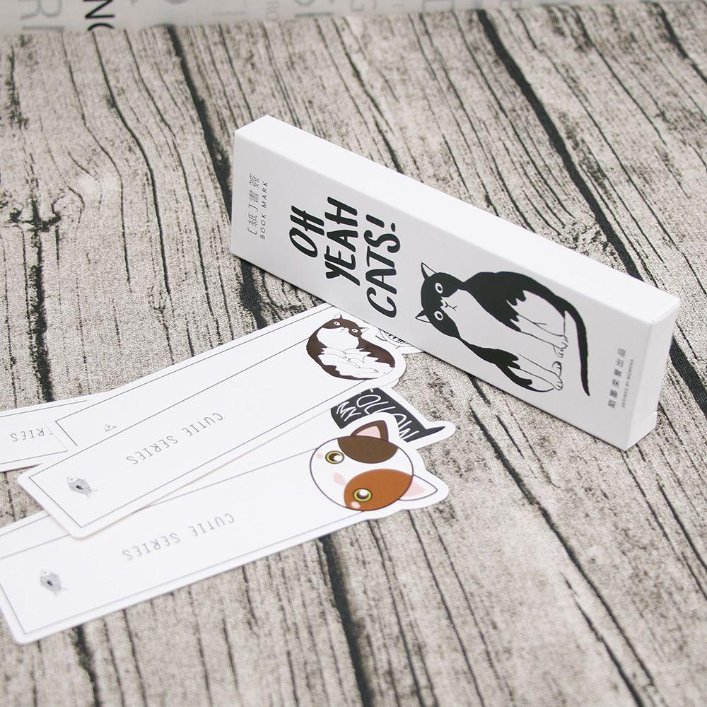 JESJELIU 30pcs/box Cute Oh Yeah Cat Face Page marker Bookmark Paper Holder School