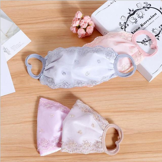 Summer Spring Lace Breathable face mask sun protective Shade anti-dust mouth mask Chiffon Mouth-muffle Mask Flu Face masks 4