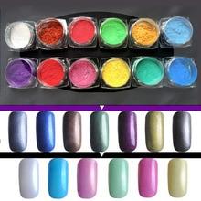 12 color Nail Polish Powder Discoloration Silver Glitter Magic Domestic  Mirror