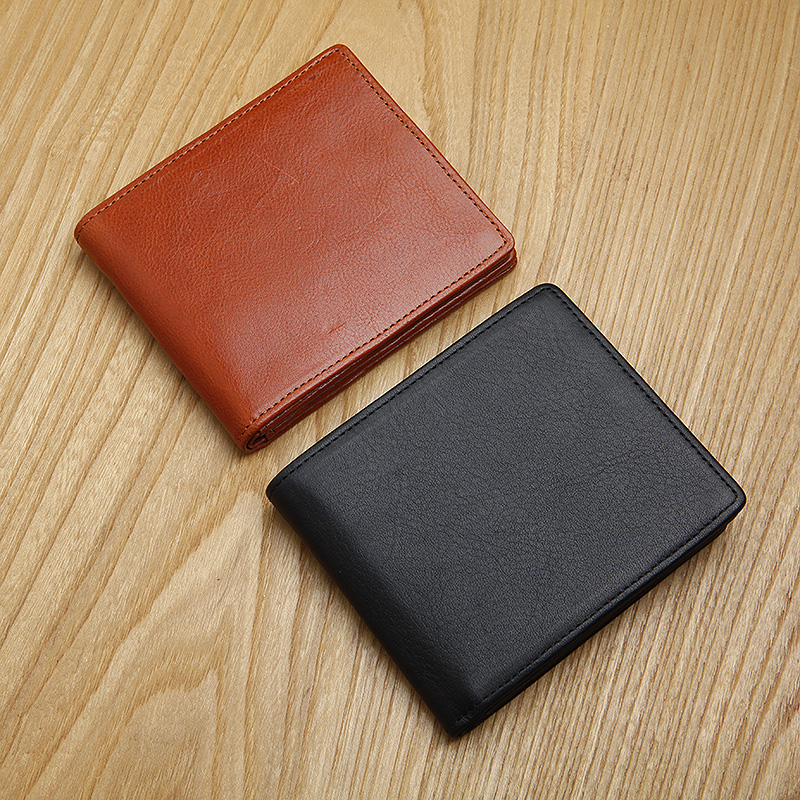 LAN Men's Leather Short Wallet Horizontal Small Wallet Multi Holders