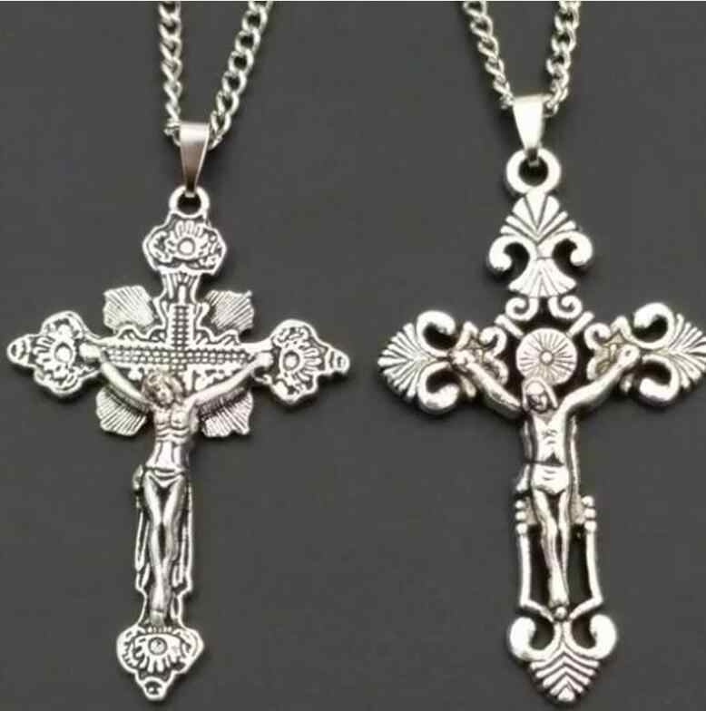 New Fashion Vintage Silver 12 Mixed Ankh Cross Charms Pendants Necklace Spiritual protection For Women Men Jewelry