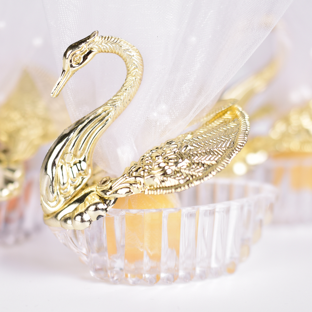 50 Pieces Acrylic Wedding Favor Swan Boxes Bomboniere Candy Box Gift