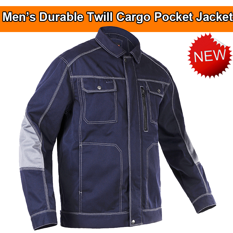 Chaqueta de trabajo azul oscuro para hombre de alta calidad, resistente, de varios bolsillos, para hombre, para ropa de trabajo, chaqueta de