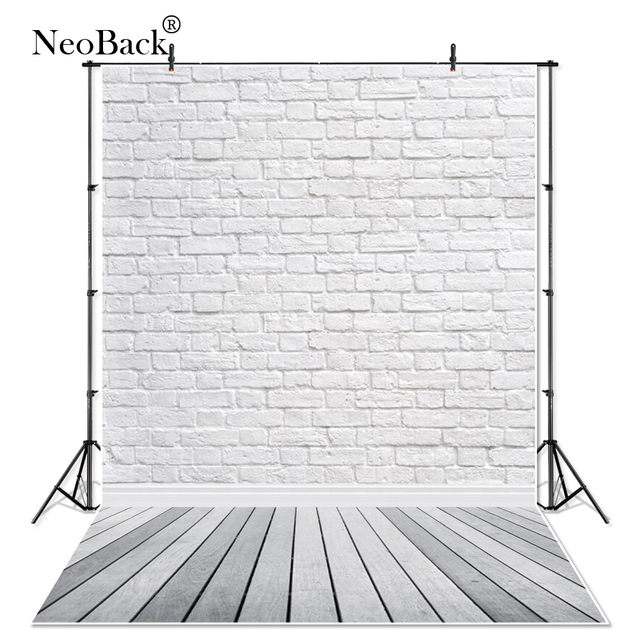 Thin Vinyl Photo Background Grey Wood Floor Studio Vinyl White Bricks Photography Backdrop for Pet Photography Cakes Photos