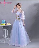 Beauté Emily Lumière Pourpre Sexy Fleur A-ligne Longue Plus La Taille de Demoiselle D'honneur Robes 2017 Trois Trimestre De Mariage Partie De Bal Robes