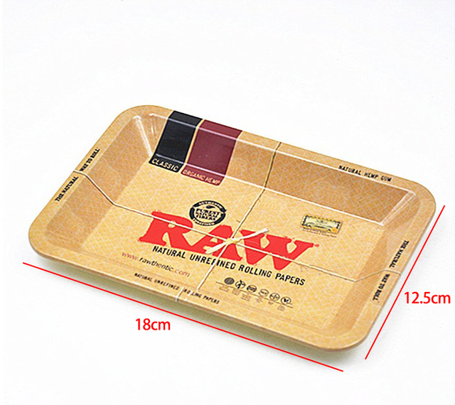 10pcs Wholesale Matel 18x12.5cm Smoking Tray RAW Roller Paper Tool Kitchen  Trays Cigarette Cigar