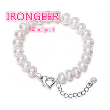 High quality 8-9mm perfect bread-shaped natural pearl bracelet fashion bracelet For women Valentine's Day gift Free shipping