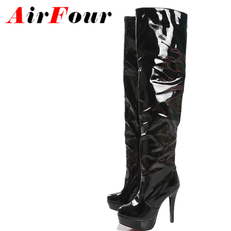 ФОТО Airfour New Winter Fashion Sexy Thin High-heeled Women's Slim Woman Thigh Boots Over The Knee Boots Ultra High Heel Long Boots
