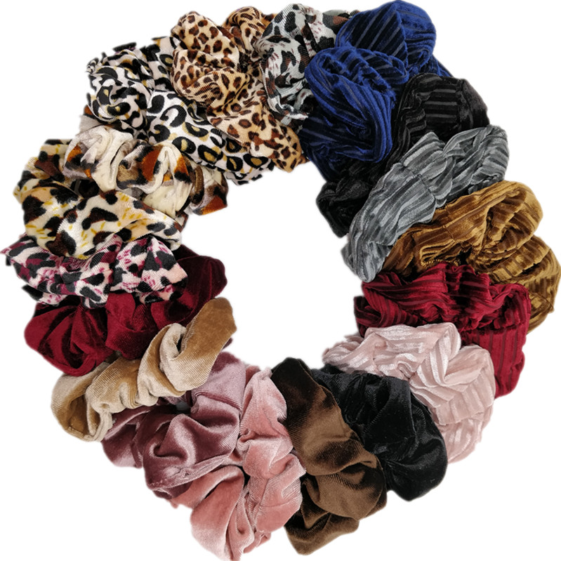 10pcs/lot Women's Velvet Satin Chiffon Hair Scrunchies Hair Tie Hair Accessories Ponytail Holder Leopard Glitter Strips(China)