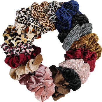 Scrunchies Set Hair Accessories Velvet Satin Chiffon Christmas Ponytail Holder Girl Party Headwear No Crease Leopard Solid Color - discount item  26% OFF Headwear