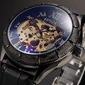 Top Marca SEWOR Skeleton Relógios Mecânicos Relógio Masculino Homens Moda Couro Preto Transparente Automatic Assista Montre Homme