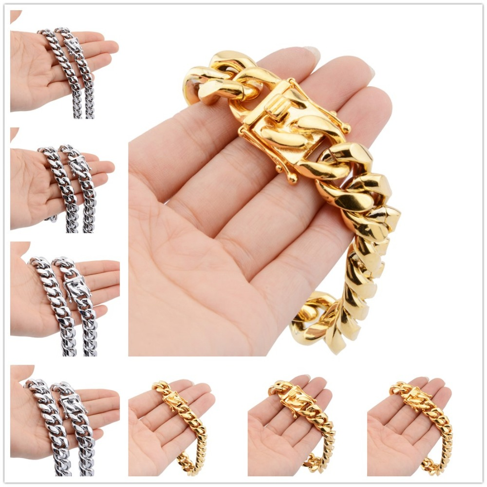 8/10/12/14/16/18MM Fashion Unisexs Jewelry 316L Stainless Steel Silver/Gold Mimal Cuban Curb Chain Mens Womens Bracelet Bangle