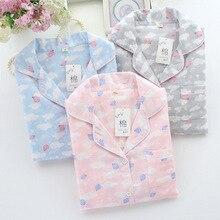 Осенняя хлопковая двойная газовая Пижама для женщин, длинные рукава, брюки, пижама с цветочным принтом, пижамы размера плюс, домашний пижамный комплект