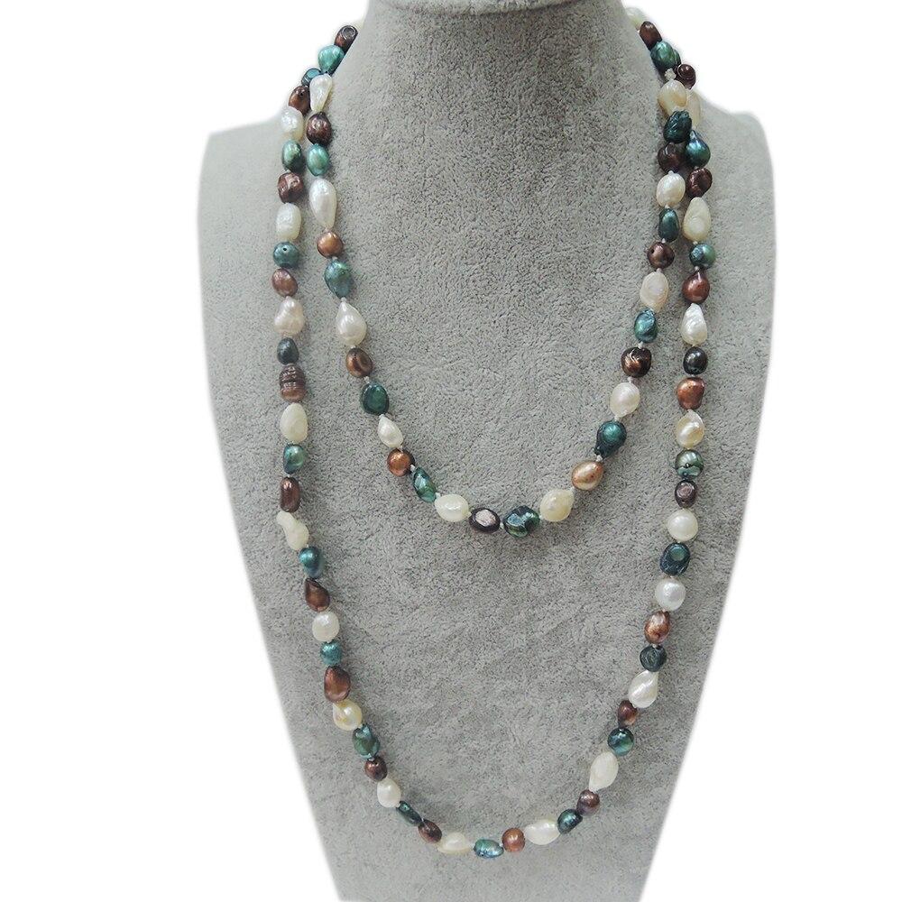 2ed943c7461e ⑥100% natural de agua dulce perla collar largo-120 cm collar - a390