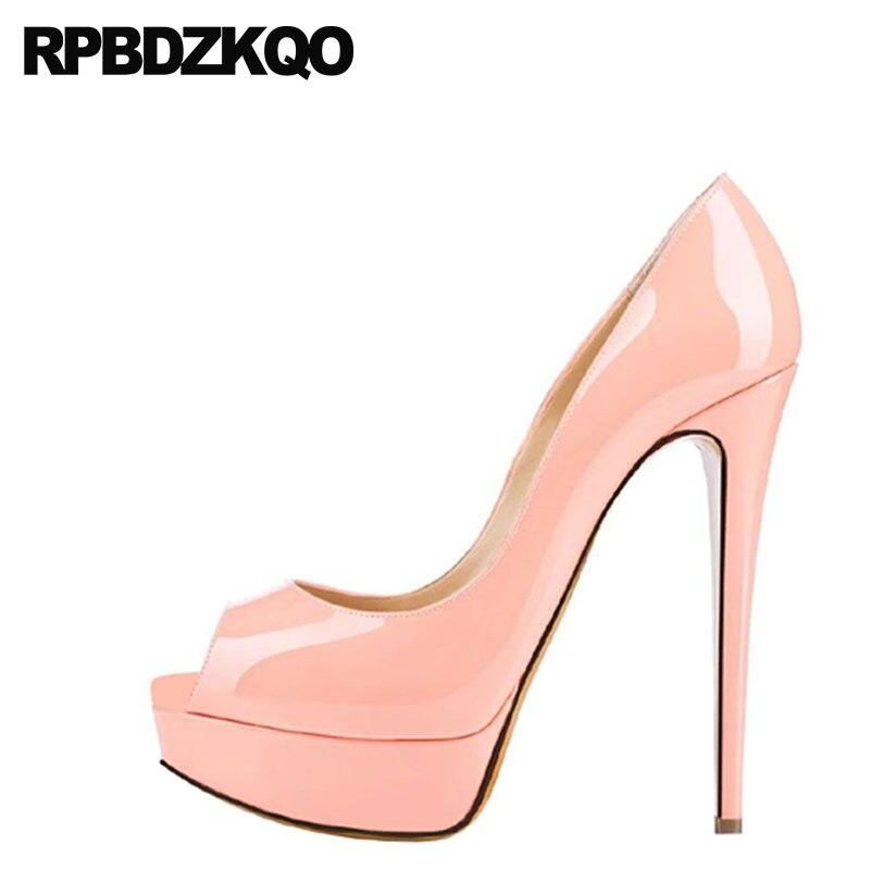 6de9ef446a8 Big Size Pumps Thin Shoes 14cm High Heels Women 2018 Patent Leather Peep  Toe Slingback Crossdresser Platform Summer Pink Female