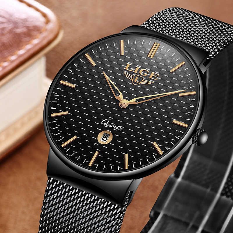 bd5036f9f77 ... LIGE Men s Watches New Luxury Brand Watch Men Fashion Sports Quartz  Watch Stainless Steel Mesh Strap ...