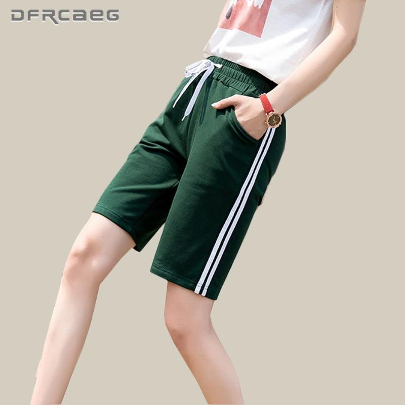 Women's Cotton Knee Length   Pants   2018 Fashion Summer Side Striped   Capris     Pants   Femme Loose Sweatpants Casual Short Trousers