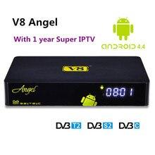 Freesat V8 Ángel Receptor de Satélite Amlogic S805 Android TV Box con DVB S2/T2 con 1 Año Súper IPTV IPTV Para Italia Albania caja
