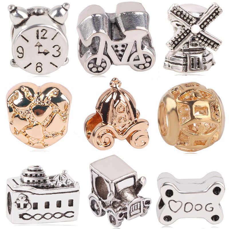 Ranqin New Antique Silver Windmill Bike Classic Car Cruises Dog Bone Series Beads Fit Pandora Charms Bracelets DIY Women Jewerly