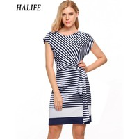 HALIFE Women Cap Sleeve Straight Striped Dress O Neck Ladies Summer Sheath Side Draped Tie Belt