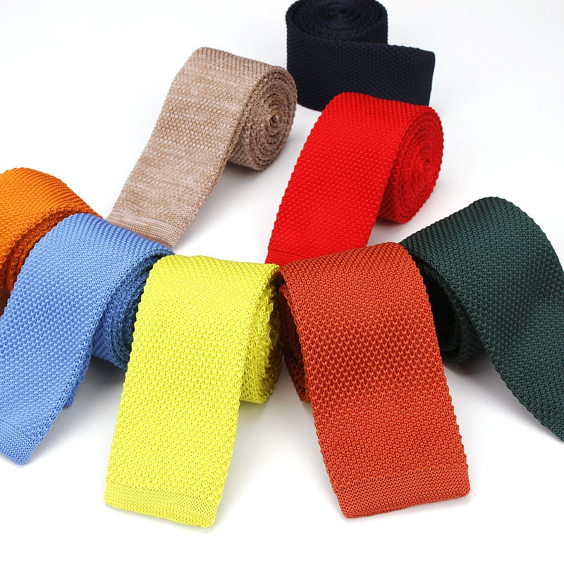 New Pure Color Knitted Necktie Men's Ultra Narrow Casual Flat Necktie 6cm Knitted Tie