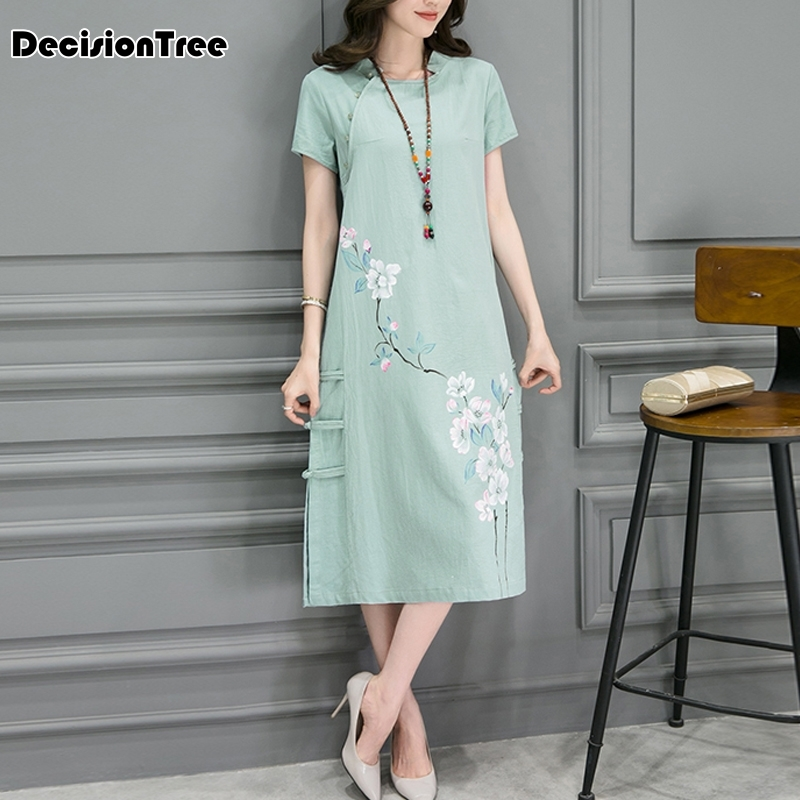 2019 summer casual women chinese style floral printing dress cheongsam elegant loose lady cotton linen short sleeve qipao