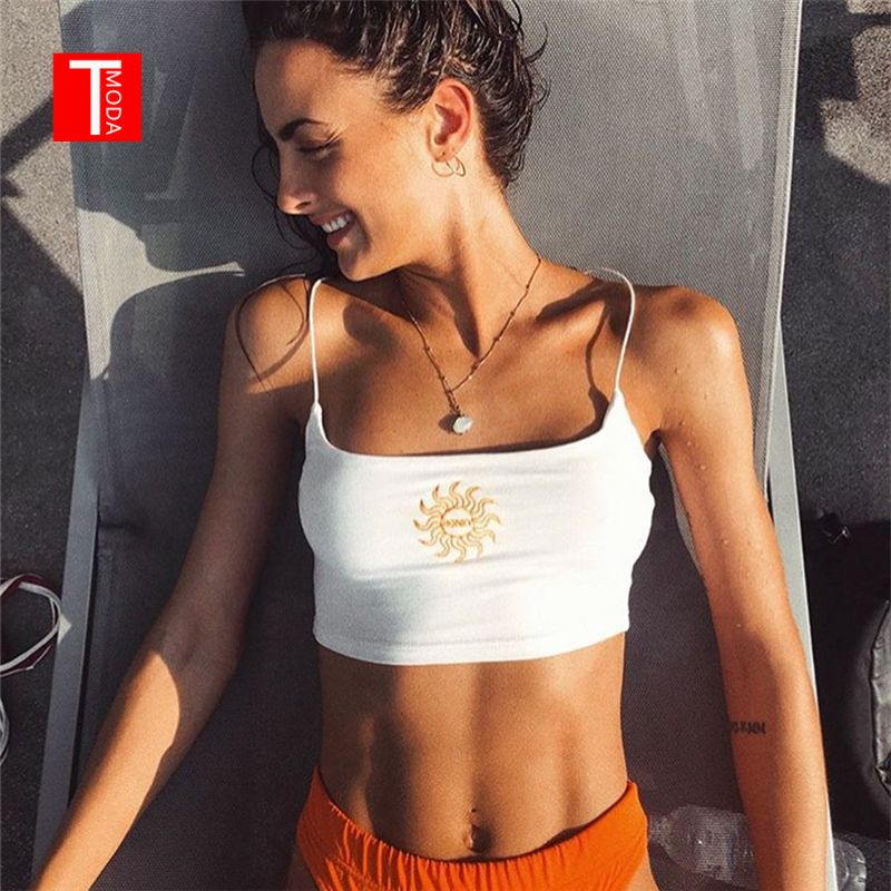 T MODA 2018 Women Sexy Cropped Camis Black White Letter Embroidery Darlin Crop Top Summer Streetwear Tank