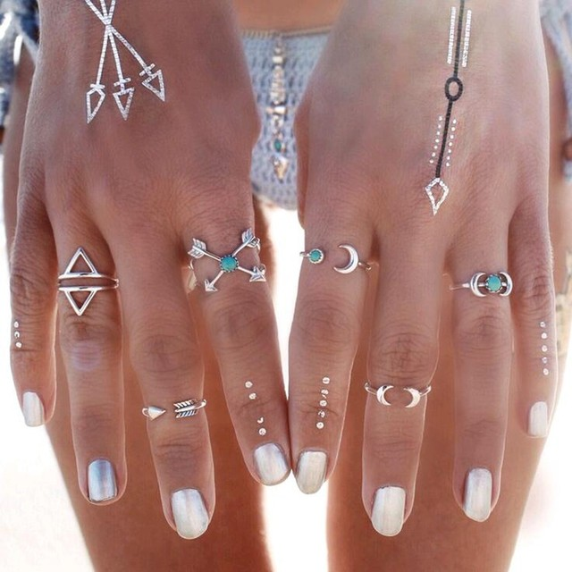 2018 New, 6 pcs /set Turkish vintage beach punk moon arrow ring set antique silv