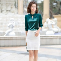 Office Ladies Green Blouses Women Work Suits 2 Piece Skirt and Top Sets Half Sleeve Shirts OL