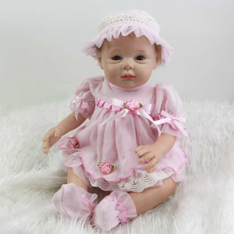 Lovely Cute Reborn Girl Doll Princess Silicone Newborn Babies Toy 22 Inch Lifelike Dolls With Silicone