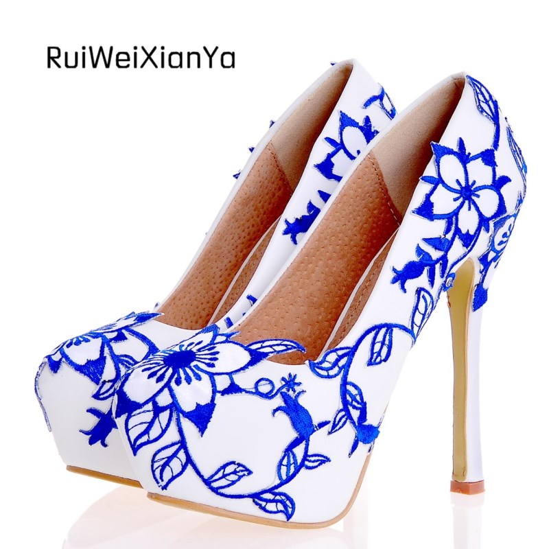 2017 New Fashion Spring Ladies Shoes Red Wedding Shoes for Bridal Sweet Woman Pumps Single High Heels Plus Size Direct Selling 2017 new fashion spring ladies pointed toe shoes woman flats crystal diamond silver wedding shoes for bridal plus size hot sale