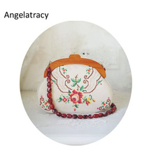 купить Angelatracy Needle Point Handmade Women Bag Embroidery Rose Handbag Antique Clutch Bags Vintage Floral Women Clutch Victorian по цене 2188.41 рублей