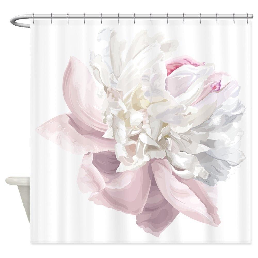 Elegant White Peony Decorative Fabric Shower Curtain 12 Hooks Curtains Bath Customize Wholesale