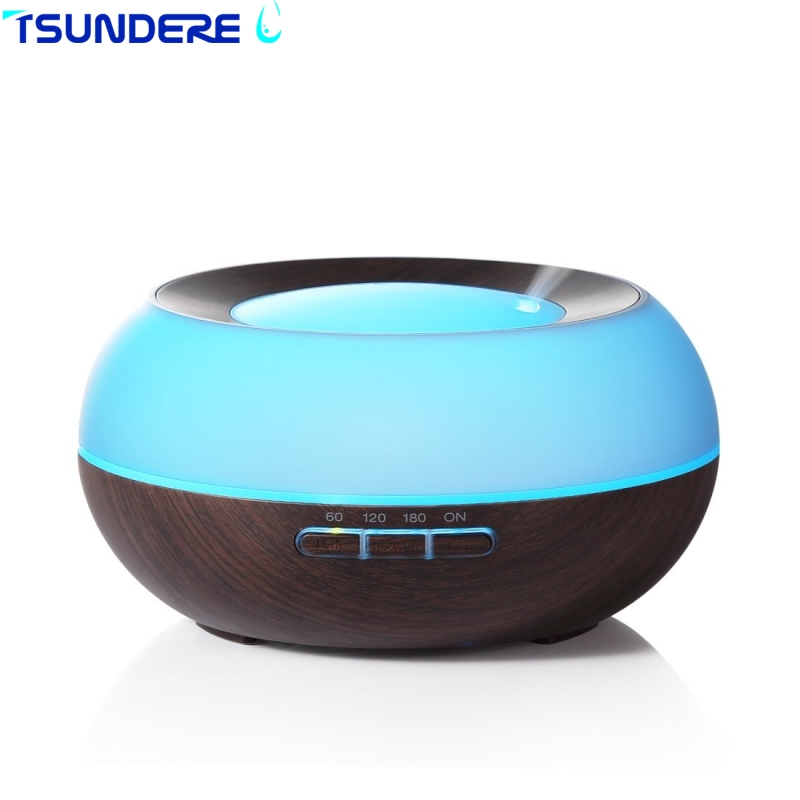 Ultrasonic Air Humidifier Essential Oil Aroma Diffuser 300ML Mist Maker Diffuser LED Wood Aromatherapy For Home Living Room