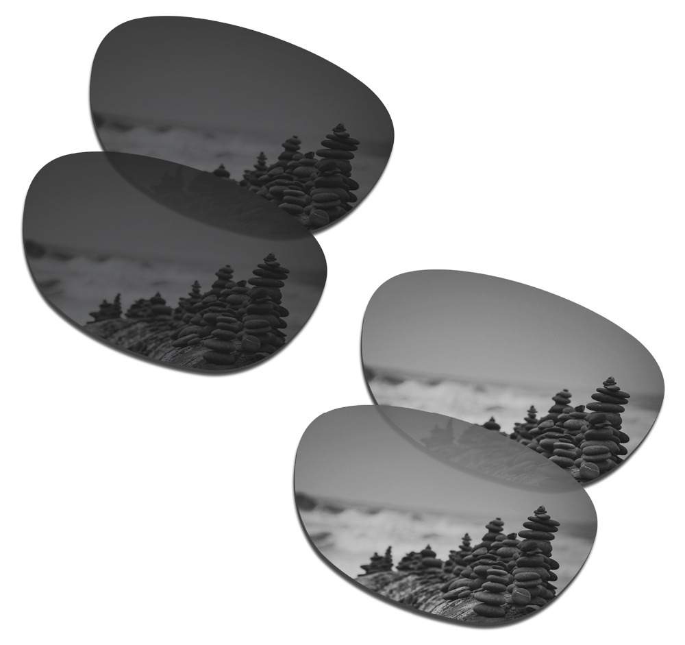 SmartVLT 2 Pairs Polarized Sunglasses Replacement Lenses for Oakley Stringer Stealth Black and Silver Titanium