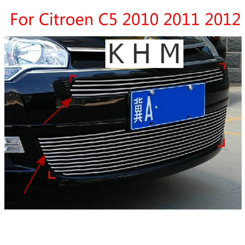 High quality stainless steel Front Grille Around Trim Racing Grills Trim For Citroen C5 2010 2011 2012 Car-covers Car-styling for kia k2 high quality aircraft grade aluminum front grille around trim racing grills trim fo