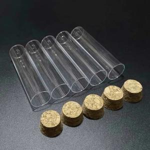 Image 2 - 50 adet/grup 25x95mm düz tabanlı plastik test tüpü mantar tıpa ile çeşitleri için laboratuvar cam eşyaları
