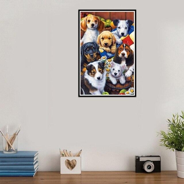 Diamond Painting New Dog Pet Paradise Round Rhinestones Mosaic Cross