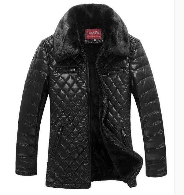 2016 Men's Leather Jacket Male Brand Stand Collar Plus Velvet Thicker Casual Fur Coat Waterproof Leather Jackets  Jaqueta Couro