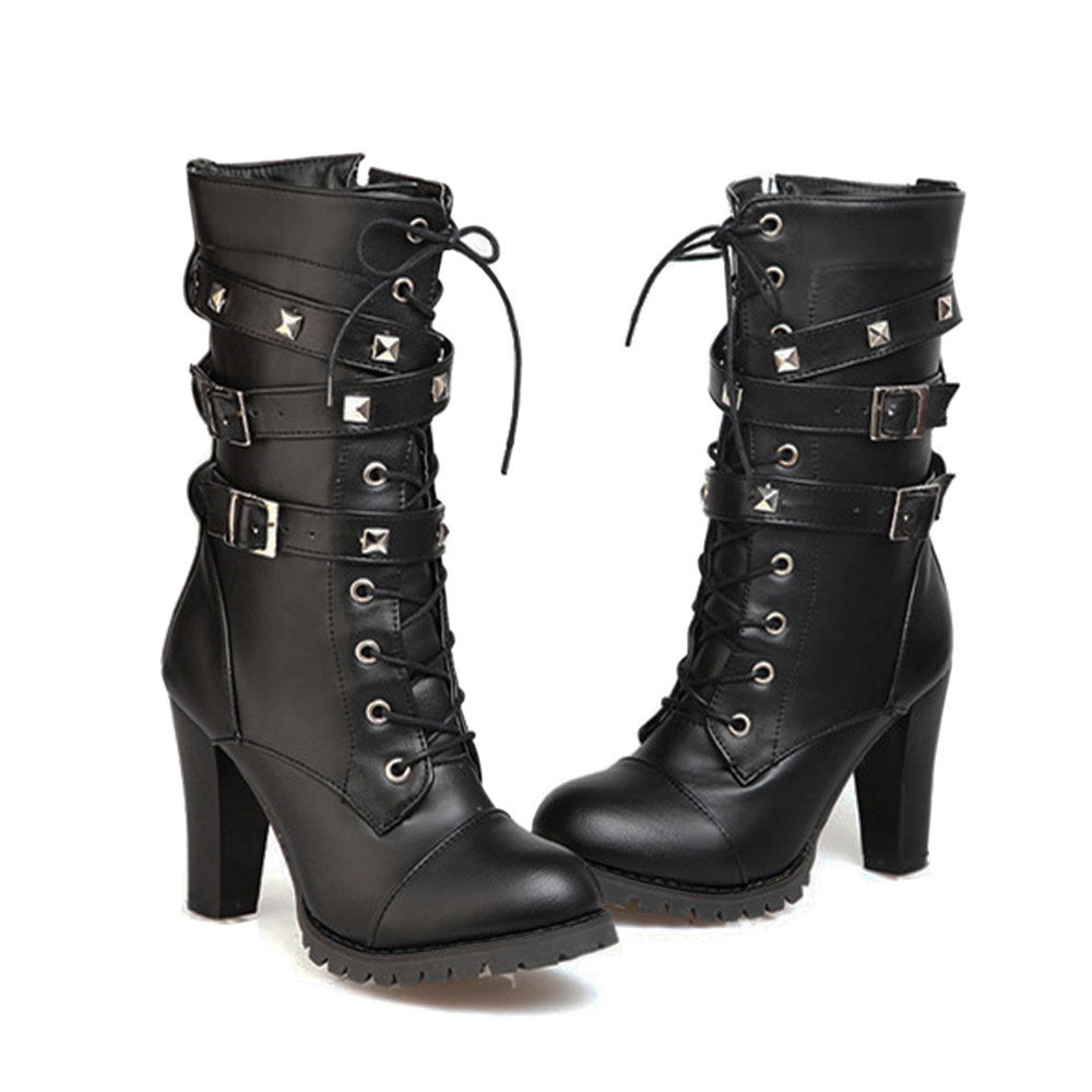 shoes Boots Women Ladies Classics Rivet Belt High Heels Mid-Calf Boots Shoes Martin Motorcycle Zip boots women 2018Oct31 21