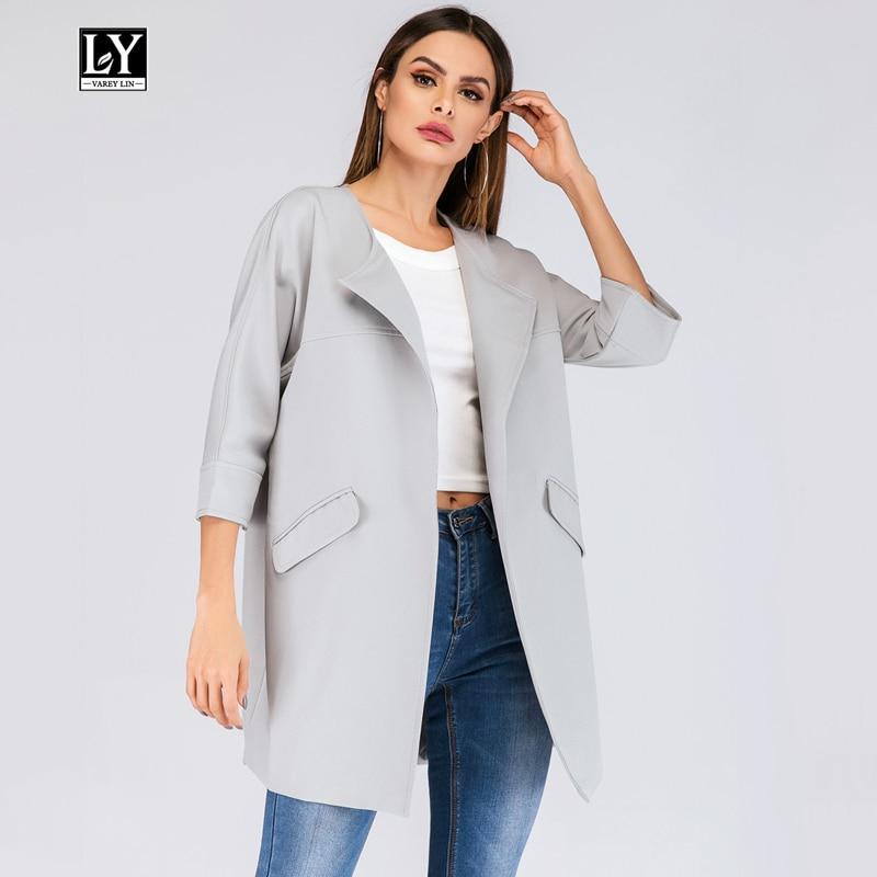 Ly Varey Lin New Spring 2019 Women Cardigan Coat Plus Size 5XL Turn-down Collar Three Quarter Casual Medium Long   trench   coat