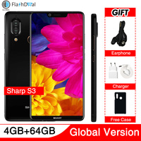 Global Version Sharp Aquos S3 5.99Inch FS8032 Mobile phone RAM 4GB ROM 64GB Snapdragon 630 Android 8.0 3200mAh NFC 4G Smartphone
