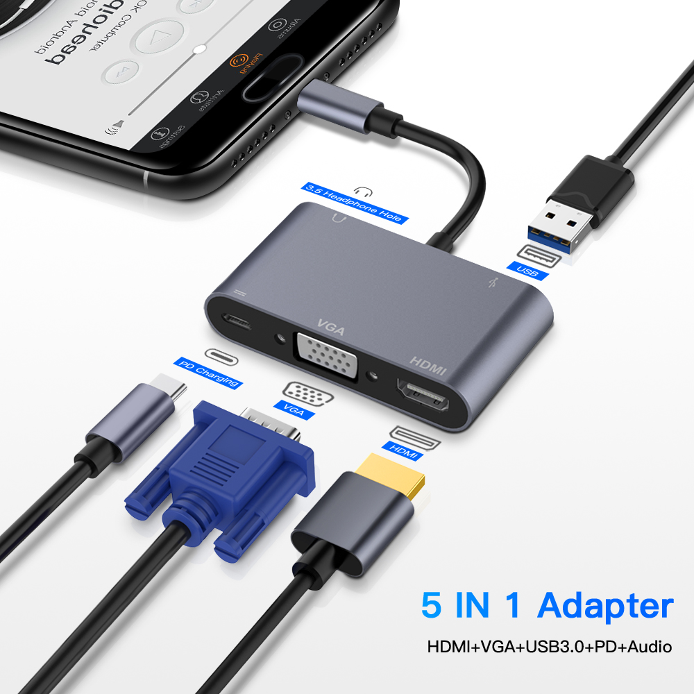 TypeC Adapter 5-in-1 Thunderbolt 3 USB Type C Hub To HDMI VGA 3.5mm Jack USB Adapter With Type-C Power Delivery For MacBook Pro